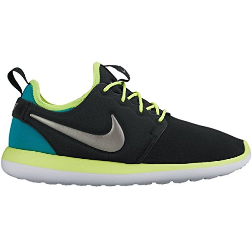 (NIKE ROSHE 2 (GS) Black/Volt/Rio Teal/Metallic Pewter 5.5 Youth US)