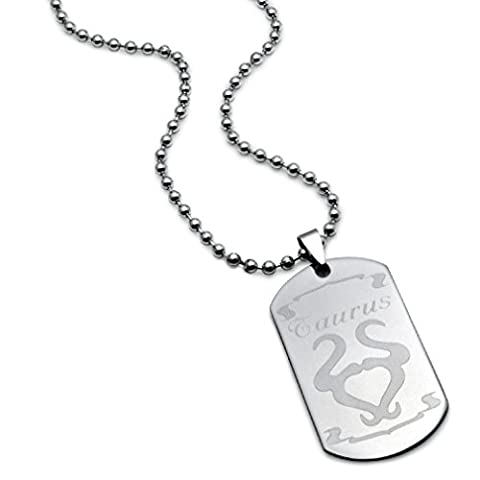 TAURUS Zodiac Sign Stainless Steel Dog Tag Necklace 24 Inches