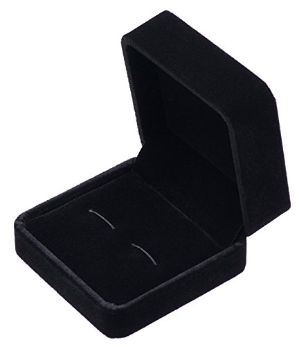 Giftop Small Dark Classic Velvet Cufflink Box Case (Black)