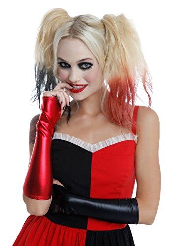 Lame Adult Gloves (Black & Red Lame Gloves)