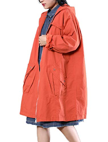 Mordenmiss Women's Zipper Closure Letter Printed Hoodie Trench Coat with Big Pockets (XL Orange)