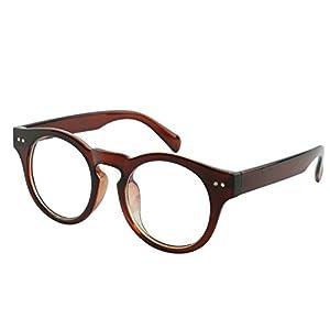 Beison Horn Rimmed Round Eyeglasses Frame Clear Lens 46mm (Brown, 46)