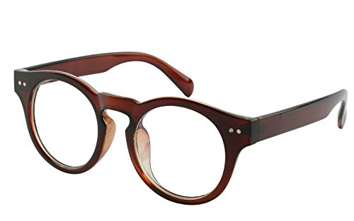 Beison Horn Rimmed Round Eyeglasses Frame Clear Lens 46mm (Brown 46)