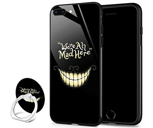 iPhone 8 Plus case,iPhone 7 Plus case,Slim Fit Tempered Glass Back Design Shock Absorption Bumper TPU Protective Cover Phone Case for iPhone 7/8 Plus - Cute Smile ()