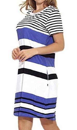 Casual Sleeve Dress Loose Short O Pockets Short with Striped Jaycargogo 2 Neck Women's CIqFnIwX