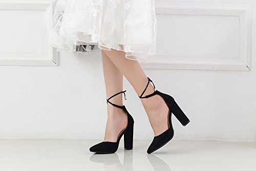 Elegance Lace Strappy Beryl Lady D'orsay Mila Pointed Heels Ankle Chunky Toe 02 Black Platform Classic YC4W5d85
