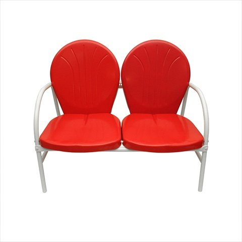 NorthLight Vibrant Red And White Retro Metal Tulip 2-Seat Double Chair