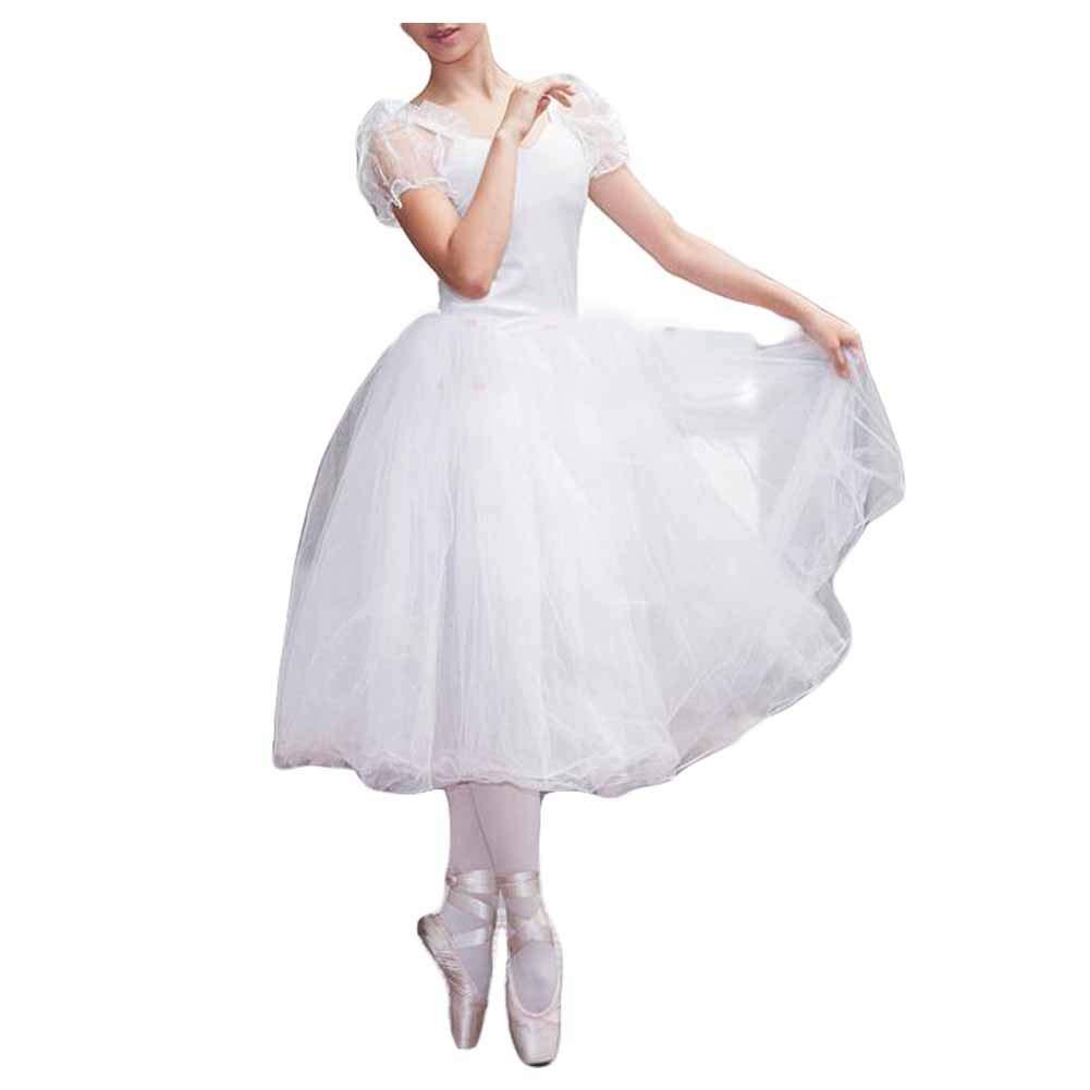 Panda Legends Women Puff Sleeve White Ballet Long Dress Ballet Tutu Bubble Skirt Fairy Dance Performance Costumes