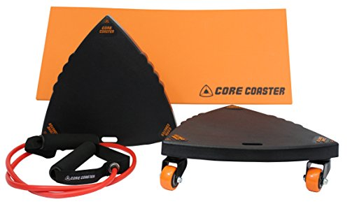 Core Coaster – Ab, Core and Total Body Exercise System Wheel Ab Roller 2 Sliders, Mat, Band