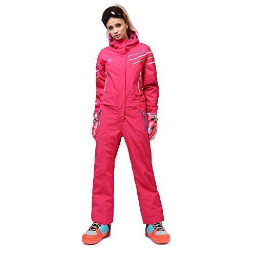 - Mous One Ski Suit Women Rose Red Snowsuit Winter Outdoor Waterproof Insulated Coverall Suit with Reflector for Female(Medium)
