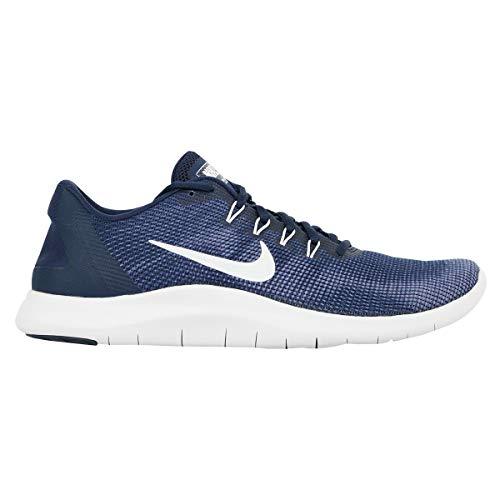 Nike Men's Flex 2018 Rn Midnight Navy/White Ankle-High Mesh Running Shoe - 10.5M (Mens Blue Sneakers Nike)