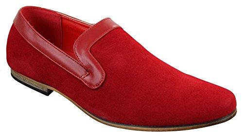 bleu daim marron en tendance Mocassins enfiler Rouge style PU décontracté à homme rouge nqORO18