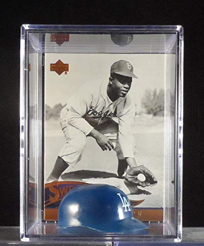 Jackie Robinson Brooklyn/Los Angeles Dodgers Card & Mini-Batting Helmet Display