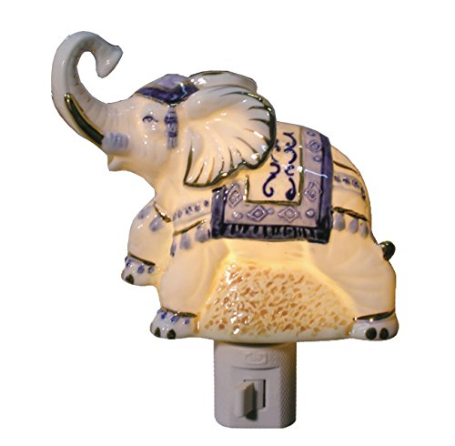 (Green Pastures Wholesale Elephant Porcelain Night Light, 3-Inch by 3-Inch by 4-Inch)