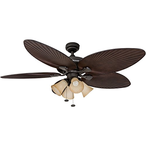(Honeywell Palm Island 52-Inch Tropical Ceiling Fan with 4 Sunset Shade Lights, Five Palm Leaf Blades, Indoor/Outdoor, Oil-Rubbed Bronze)