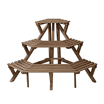 3 Tier Fir Wood Conner Standing Flower Pot Rack Step Style Plant Display Stand Shelf Storage Organizer, 3 Colors