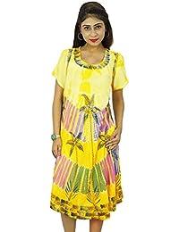 Women Beach Indian Dress Rayon Casual Summer Sundress