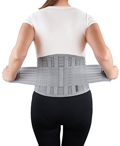 Lumbar Sacral Brace - ORTONYX Dynamic Breathable Back Support Brace Lumbar Lower Back Brace w/6 Stays - L/XL Gray