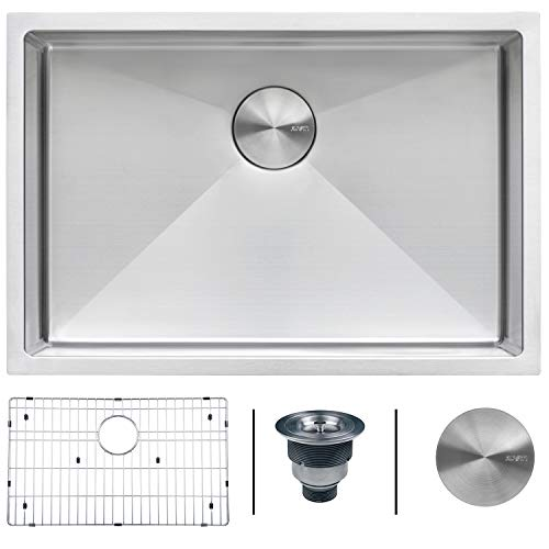 (Ruvati 26-inch Undermount 16 Gauge Tight Radius Stainless Steel Kitchen Sink Single Bowl - RVH7126)