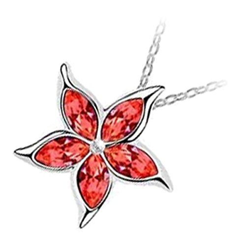 [GWG 18K White Gold Plated Sea Star Flower With 5 Garnet Orange Red Sparkling Austrian Crystals Pendant Necklace for Women] (Garnet Swarovski Austrian Crystal)