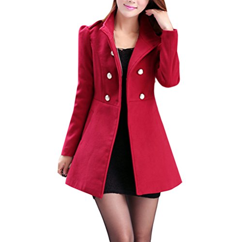 Woolen Abrigo Dark Elegant Cardigan Windbreaker Mujeres Warm Slim Faux Coats Invierno Jacket Red Long Zhhlaixing para 1Bwvqfx