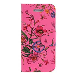 Blooming Flowers Pattern PU Full Body Case with Card Slot for iPhone 5/5S (Assorted Colors) --- COLOR:Yellow