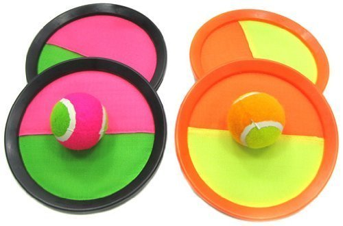YMCtoys 2032 Catch Ball Paddle Game Set 2-Pack (Ball Sticks to Paddle)