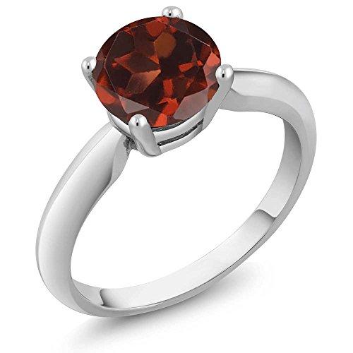 Garnet Vintage Bands (1.30 Ct Round Red Garnet 925 Sterling Silver Ring)