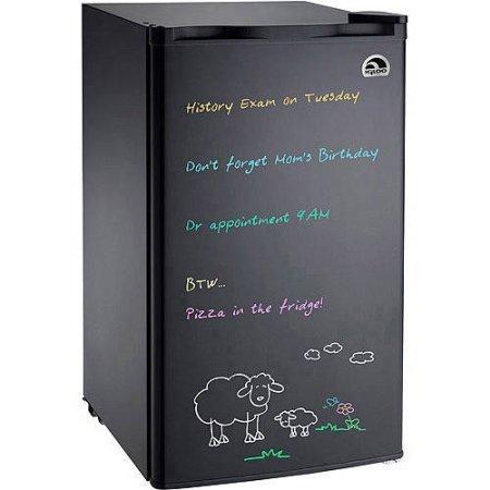 BLACK Eraser Board Refrigerator; 2 adjustable shelves,Reversible door, Adjustable thermostat 3.2 cu ft