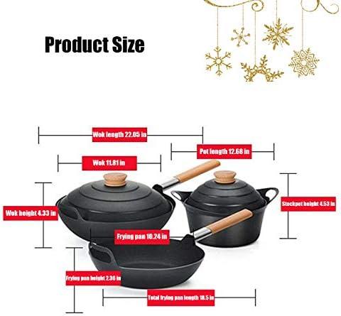 YSNJIN Poêles À Sauter Set Professionnelle Batterie De Cuisine Domestique Kit avec Antirouille Et Facile À Nettoyer pour Cuisine