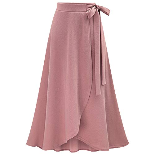 TOPUNDER Maxi Skirts for Women Solid Flare Hem High Waist Midi Skirt Sexy Pleated Skirt (Small, 01 Pink)