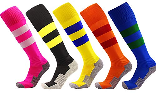 Sports & Outdoors 7-15 Years Kids Youth Soccer Socks Boys Girls Knee High Stripe Compression Football Socks