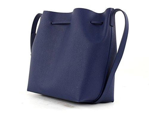LANCASTER Pur Saffiano Bucket Bag Bleu Fonce