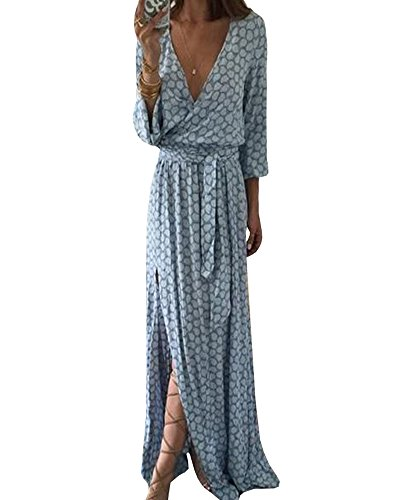 Remikst Women Maxi Dress Long Sleeve Printed Deep V neck Bandage Split Floor-Length Dress (Blue Dress Powder)