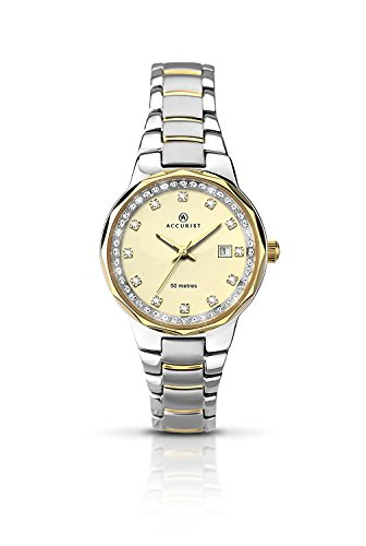 Accurist Women's Quartz Watch with Beige Dial Analogue Display and Two Tone Stainless Steel Gold Plated Bracelet 8016.01