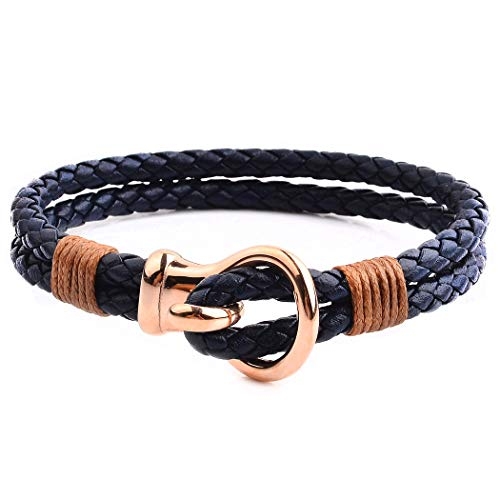 Crucible Rose Gold Plated Stainless Steel Hook Clasp Blue Leather Bracelet (10mm Wide) - 8.5 inches