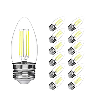 (12 Pack) 35-Watt Equivalent LED E26 Medium Base B11 Dimmable Clear Filament Vintage Style Light Bulb 2700K Warm White Decorative 35W LED Chandelier Ceiling Fan Bulbs