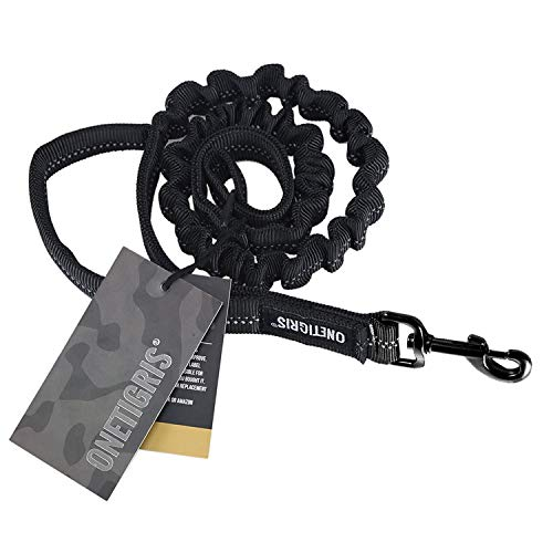 (OneTigris Tactical Dog Training Bungee Leash with Control Handle Quick Release Nylon Leads Rope (Black - with Reflective Strip))