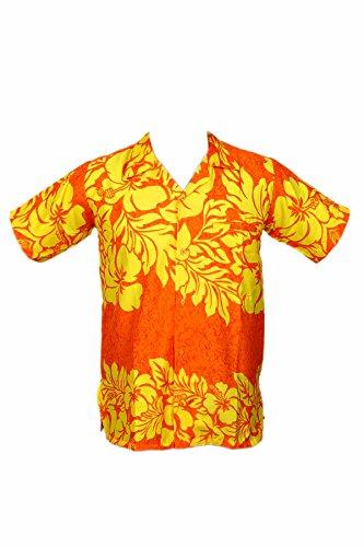 Camisa hawaiana para hombre, diseño floral de hibiscos, para la playa, fiestas, verano y vacaciones amarillo