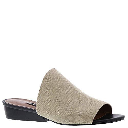 Nine West Womens Lynneah Fabric Open Toe Casual Slide, Natural Linen, Size 6.0 (Nine West Peep Toe Wedge)