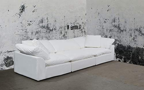 Sunset Trading SU-1458-81-2C-1A Cloud Puff 3 Piece Modular Performance White Sectional Slipcovered Sofa