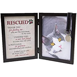The Grandparent Gift Co. Rescued Pet Cat Poem With 5 x 7 Black Photo Frame