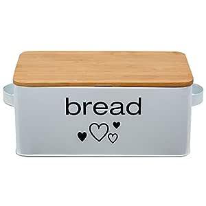 Caja de pan de metal con tabla de cortar color blanco 33 x 18 x 12 cm