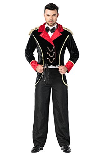 Mesodyn Halloween Circus Ringleader Black & Red Jacket Magician Suit Accessories Party Costume]()