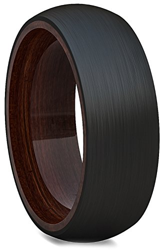 Black Tungsten Ring Solid Wood Surface 8mm Dome Edge Comfort Fit - Tungsten Solid Ring