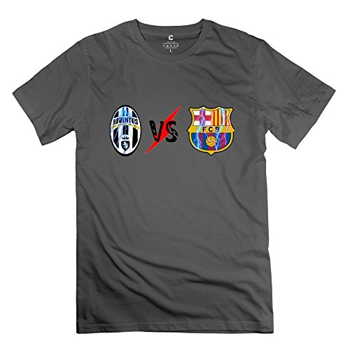 Price comparison product image Fire-Dog Men's Juventus FC FC Barcelona Logo T-shirt Size L DeepHeather