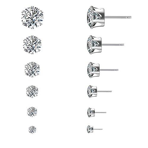 Earrings Hoop 5mm Medium (SimpleLif Stud Earrings Set,3mm-8mm Women Rhinestone Zircon Stainless Steel Elegant Earrings Jewelry Set,6 Pair)