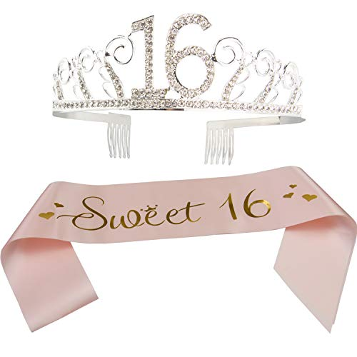 16th Birthday Sash and Tiara- Sweet 16 Satin Sash and Crystal Tiara Birthday Crown for 16th Birthday Party Supplies and Decorations (Sash+Tiara)/Rose Pink