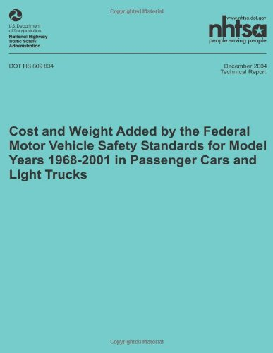 Cost and weight added by the federal motor vehicle safety for Federal motor vehicle safety standards