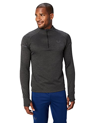 Peak Velocity Men's Thermal Waffle 'Build Your Own' Athletic-Fit Run Tops (Hoodie, Quarter-Zip), black heather, Small